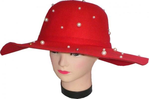 IQ 2055 Damenhut Schlapphut mit Perlen - Partyhut