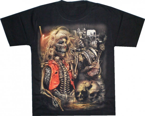 T-Shirt - Skull mit Gitarre - beidseitig farbig bedruckt