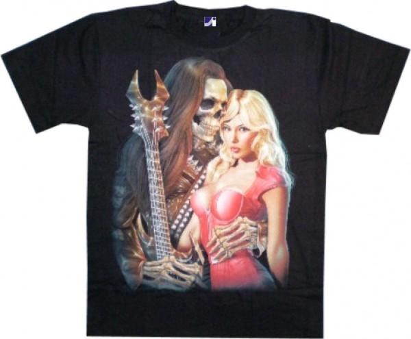 T-Shirt - Skull mit Gitarre und Frau - Glow in the dark