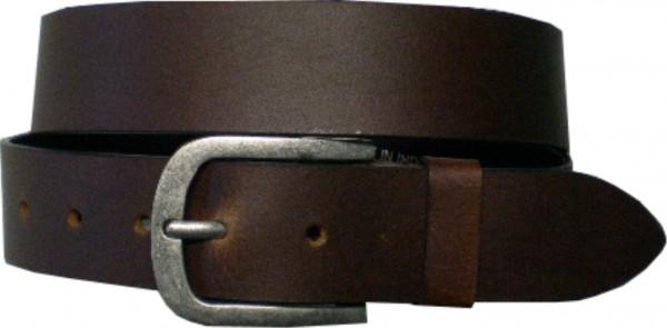ILC732 - Ledergürtel - 4 cm breit - schwarz + dunkelbraun