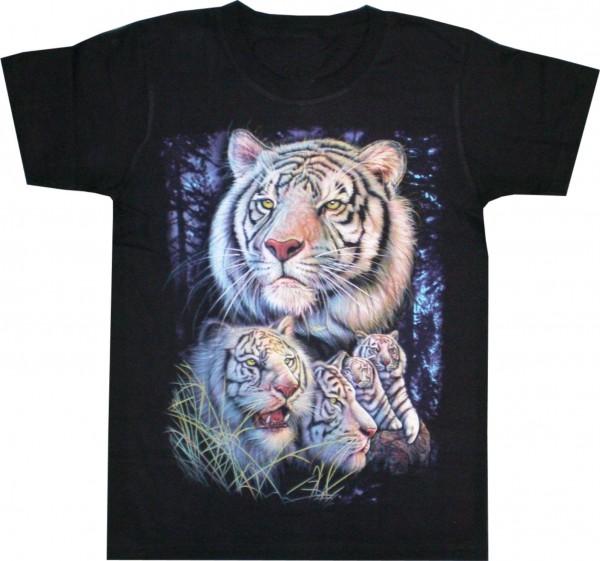 T-Shirt mit weißen Tigern