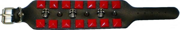 NAB 1801 - Nieten-Armband - farbige Pyramidennieten + Skulls + Spitznieten