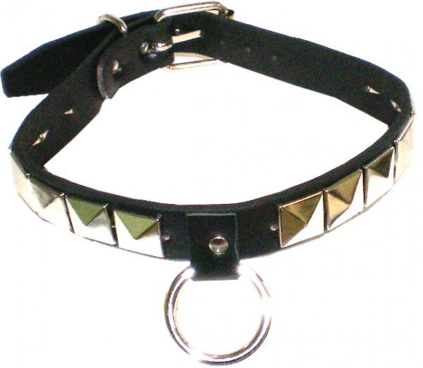 NHB 1739 - Nieten-Halsband - Nieten-Halskette mit Pyramidennieten und Ring