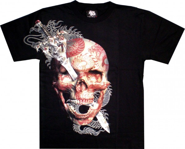 T Shirt Skull Totenkopf Glow In The Dark Mit Nieten Glow