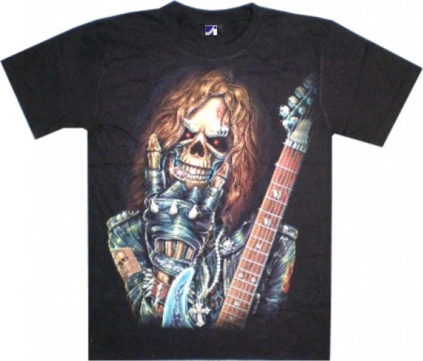 T-Shirt - Skull mit Gitarre - Glow in the dark