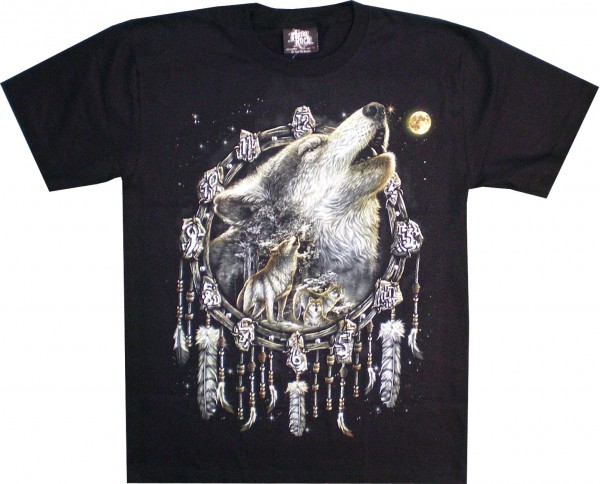 T-Shirt - heulender Wolf im Traumfänger - Glow in the dark mit Nieten