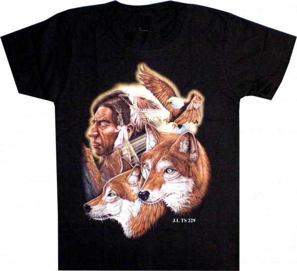 T-Shirt mit Indianer, Wolf und Adler