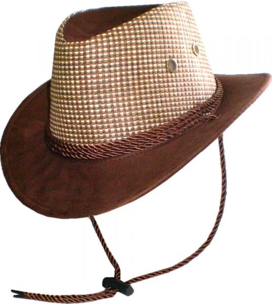 IQ1868 - Kinderhut - Cowboyhut - Hut mit Kordel - zweifarbig
