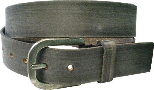 ILC751- 4 cm breiter Ledergürtel - graue braune Wischtechnik m