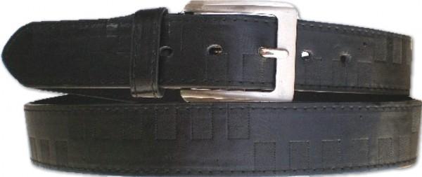 KGL 2129 - Gürtel / Kunstledergürtel / PU-Gürtel gemustert in 3,8 cm, schwarz
