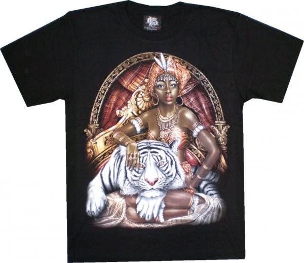 GTS 193 - T-Shirt - weißer Tiger mit Frau - Glow in the dark