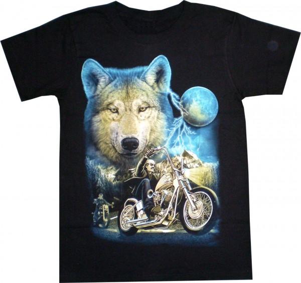 T-Shirt mit Wolf + Biker