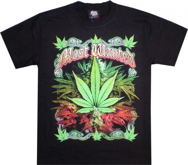 T-Shirt - Hanfblätter - most wanted - beidseitig farbig bedruckt
