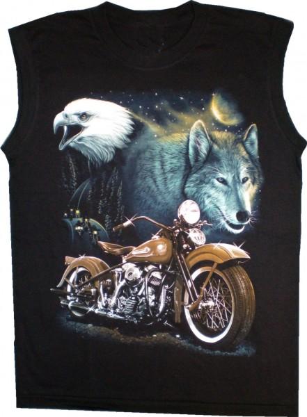 T-Shirt Muskelshirt mit Adler+Bike - beidseitig farbig mit unterschiedlichen Motiven bedruckt-Copy