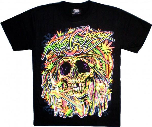 T-Shirt - rockender Skull - Rock Chang - beidseitig farbig bedruckt