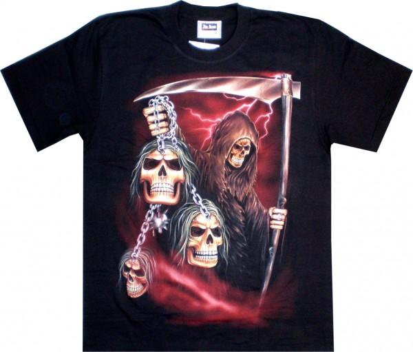 ETS 03 - T-Shirt mit Sensemann - beidseitig farbig unterschiedlich bedruckt