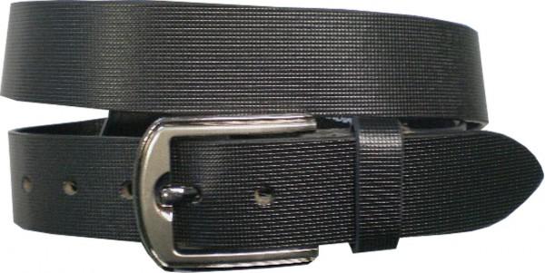 ILC755 - 4 cm breiter Ledergürtel in schwarz gemustert mit silberner Antikschnalle