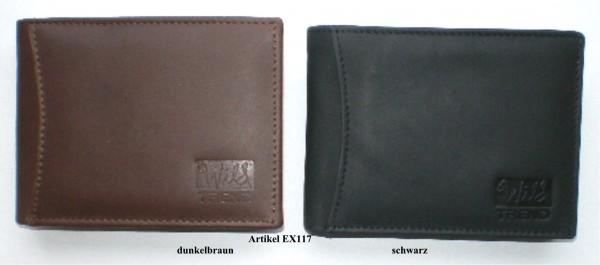 EX117 - Geldbörse, Lederbörse, Portemonnaie echt Leder - Querformat - schwarz, dunkelbraun