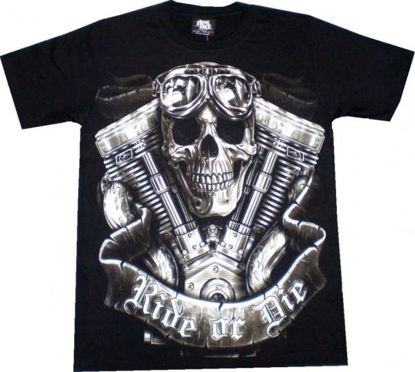 GTS 236 - T-Shirt - Skull Ride or Die - Glow in the dark