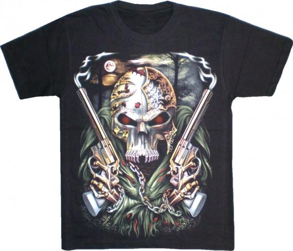 T-Shirt Skull/Totenkopf mit Pistolen