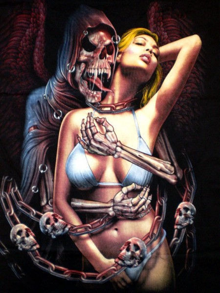 T-Shirt - Skull mit Frau - Glow in the dark