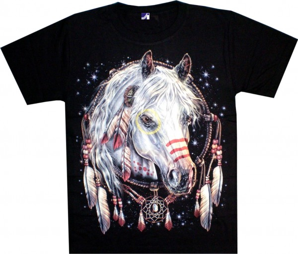 T-Shirt - Pferd mit Traumfänger - Glow in the dark