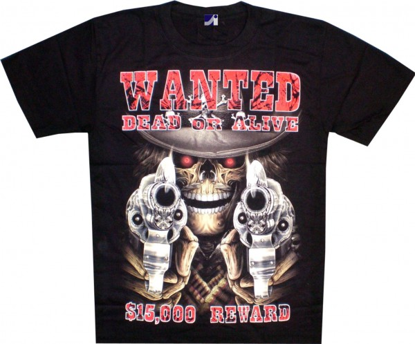 T-Shirt - Totenkopf - Skull - wanted dead or alive- Glow in the dark mit Nieten