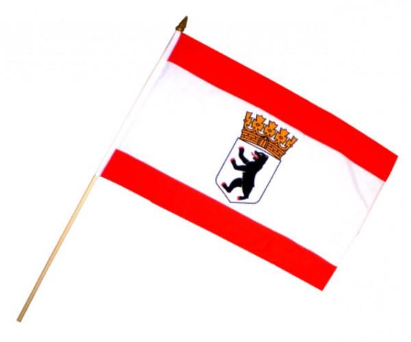 Stockfahne / Stockflagge Berlin mit Bär