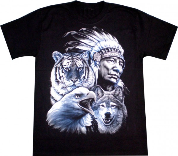 T-Shirt - Indianer, Tiger, Wolf, Adler- Glow in the dark